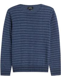 Jersey con cuello circular de rayas horizontales azul marino