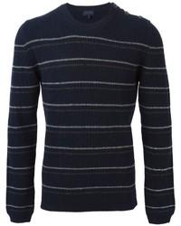 Jersey con cuello circular de rayas horizontales azul marino de Lanvin