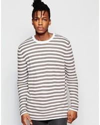Jersey con cuello circular de rayas horizontales blanco de Asos