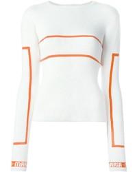 Jersey con Cuello Circular de Rayas Horizontales Blanco