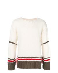 Jersey con cuello circular de rayas horizontales blanco de Maison Margiela