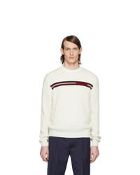 Jersey con cuello circular de rayas horizontales blanco de Moncler