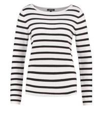 Jersey con cuello circular de rayas horizontales blanco de More & More