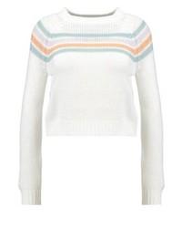 Jersey con cuello circular de rayas horizontales blanco de Noisy May