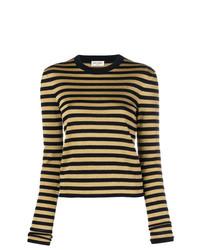 Jersey con cuello circular de rayas horizontales dorado de Saint Laurent