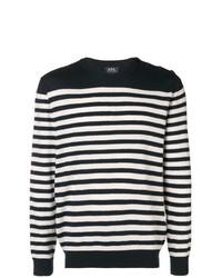 Jersey con cuello circular de rayas horizontales en azul marino y blanco de A.P.C.