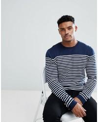 Jersey con cuello circular de rayas horizontales en azul marino y blanco de ASOS DESIGN