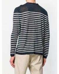 Jersey con cuello circular de rayas horizontales en azul marino y blanco de Etro