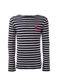 Jersey con cuello circular de rayas horizontales en azul marino y blanco de Comme Des Garcons Play