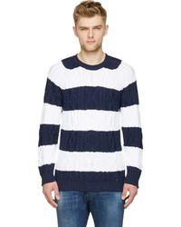 Jersey con cuello circular de rayas horizontales en azul marino y blanco de DSQUARED2