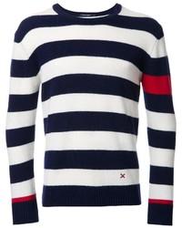Jersey con cuello circular de rayas horizontales en azul marino y blanco de GUILD PRIME