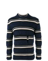 Jersey con cuello circular de rayas horizontales en azul marino y blanco de Helen Lawrence