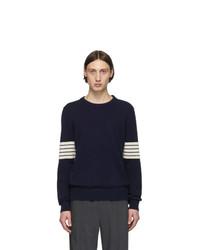 Jersey con cuello circular de rayas horizontales en azul marino y blanco de Maison Margiela