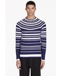 Jersey con cuello circular de rayas horizontales en azul marino y blanco de Neil Barrett