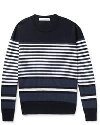Jersey con cuello circular de rayas horizontales en azul marino y blanco de Orlebar Brown