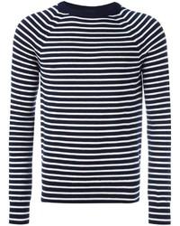 Jersey con cuello circular de rayas horizontales en azul marino y blanco de Saint Laurent