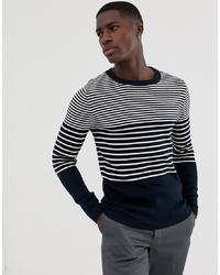 Jersey con cuello circular de rayas horizontales en azul marino y blanco de Selected Homme