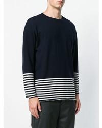Jersey con cuello circular de rayas horizontales en azul marino y blanco de Societe Anonyme