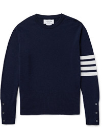 Jersey con Cuello Circular de Rayas Horizontales en Azul Marino y Blanco de Thom Browne