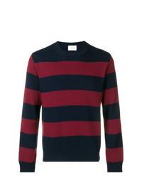 Jersey con cuello circular de rayas horizontales en azul marino y rojo