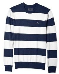 Jersey con cuello circular de rayas horizontales en blanco y azul marino