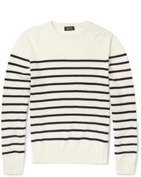 Jersey con cuello circular de rayas horizontales en blanco y azul marino de A.P.C.