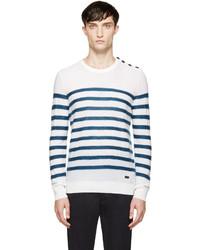 Jersey con cuello circular de rayas horizontales en blanco y azul marino de Burberry