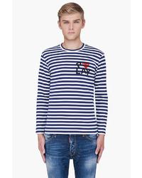 Jersey con cuello circular de rayas horizontales en blanco y azul marino de Comme des Garcons