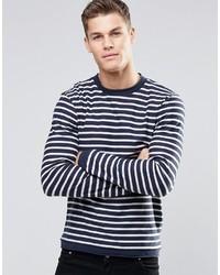 Jersey con cuello circular de rayas horizontales en blanco y azul marino de Esprit