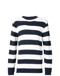 Jersey con cuello circular de rayas horizontales en blanco y azul marino de Junya Watanabe MAN