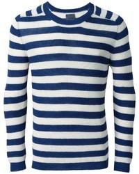 Jersey con cuello circular de rayas horizontales en blanco y azul marino de Laneus