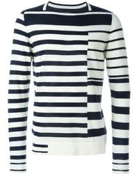Jersey con cuello circular de rayas horizontales en blanco y azul marino de Maison Margiela