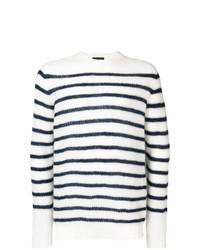 Jersey con cuello circular de rayas horizontales en blanco y azul marino de Roberto Collina