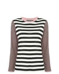 Jersey con cuello circular de rayas horizontales en blanco y negro de Alexa Chung