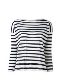 Jersey con cuello circular de rayas horizontales en blanco y negro de Giada Benincasa