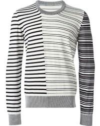 Jersey con cuello circular de rayas horizontales en blanco y negro de Maison Margiela