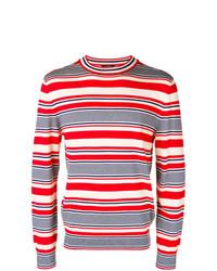 Jersey con cuello circular de rayas horizontales en blanco y rojo y azul marino de A.P.C.