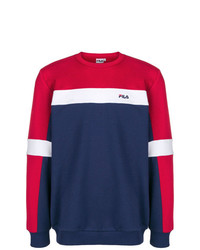 Jersey con cuello circular de rayas horizontales en blanco y rojo y azul marino de Fila
