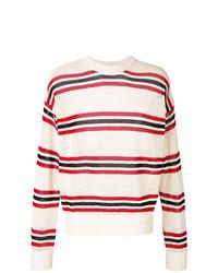 Jersey con cuello circular de rayas horizontales en blanco y rojo y azul marino de Laneus