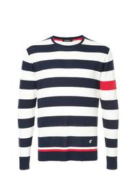 Jersey con cuello circular de rayas horizontales en blanco y rojo y azul marino de Loveless