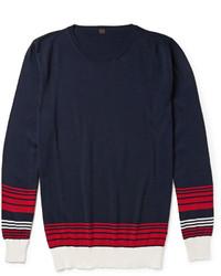 Jersey con cuello circular de rayas horizontales en blanco y rojo y azul marino de Piombo