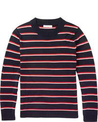 Jersey con cuello circular de rayas horizontales en blanco y rojo y azul marino de Sandro
