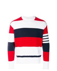 Jersey con cuello circular de rayas horizontales en blanco y rojo y azul marino de Thom Browne