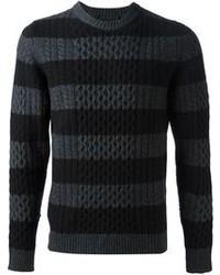 Jersey con cuello circular de rayas horizontales en gris oscuro