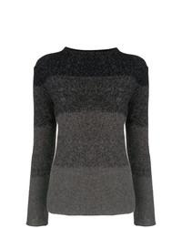 Jersey con cuello circular de rayas horizontales en gris oscuro de Fabiana Filippi