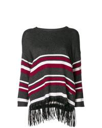 Jersey con cuello circular de rayas horizontales en gris oscuro de Jovonna