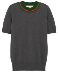 Jersey con cuello circular de rayas horizontales en gris oscuro de Marni