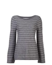 Jersey con cuello circular de rayas horizontales en gris oscuro de Vince