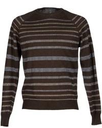 Jersey con cuello circular de rayas horizontales en marrón oscuro