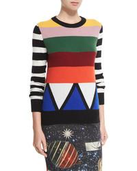 Jersey con cuello circular de rayas horizontales en multicolor